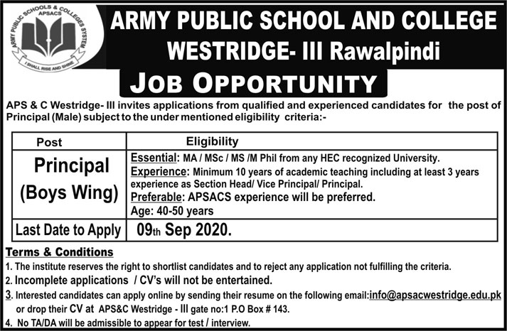 Army Public School and College (APS & C) Jobs